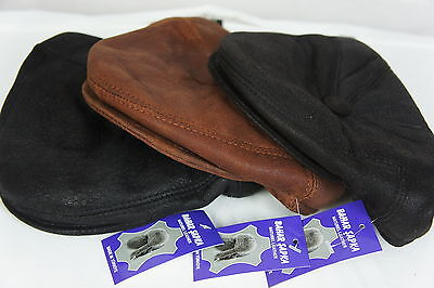 NEW 100% SHEARLING LEATHER Driving Cap Newsboy Ivy Hat Golf Gatsby Flat Cabbie