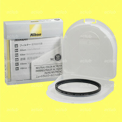 Genuine Nikon 58mm Neutral Color NC Filter Clear Lens Protector