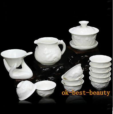 Boutique Jade Porcelain Kung Fu Tea Set Dehua Tea Set with 14 pcs Free Shipping