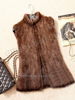 100% Real Genuine Knitted Mink Fur Vest Gilet Waistcoat Sweater Coat Fashion New