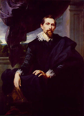 Huge Oil painting Anthony van Dyck - Male portrait Painter Frans Snyders seated