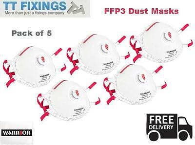 5 x Warrior FFP3 Disposable Dust Masks With Valve Respirator Face Work PPE