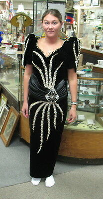 handmade black sequined evening dress / tiny 30 inch waist / tons of decoration