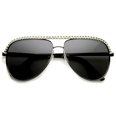 Rhinestones Womens Aviator Metal Sunglasses Stunner Fashion Celebrity Bling