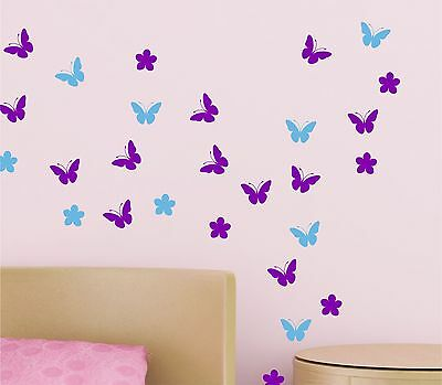 54 Butterflies with Flowers (UP TO 54) wall Art Stickers vinyl decal decor