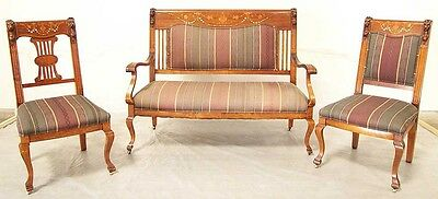 Antique Carved Wood Love Seat with two Chairs