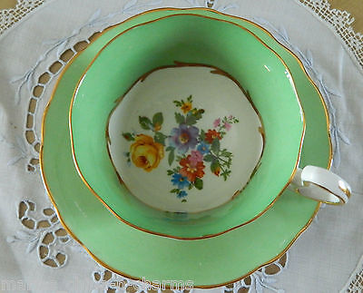 RADFORD'S MINT GREEN ROSE LOT OF GOLD FANCY  TEACUP TEA CUP AND SAUCER  England