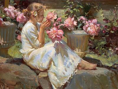 """Beautiful Oil painting Nice Young girl smell the flowers canvas 24""""x36"""""""