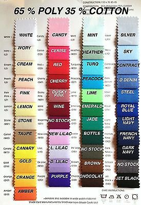 Plain PolyCotton Fabric Poplin Per Metre 30 colours Best Quality 65/35 Blend 45""