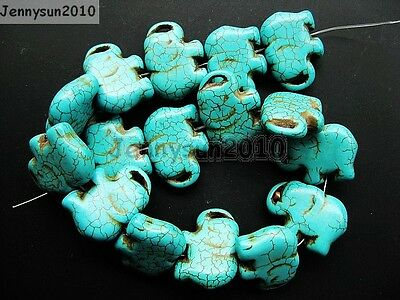 Blue Howlite Turquoise Gemstone Side Ways Flat Elephant Loose Beads 16''