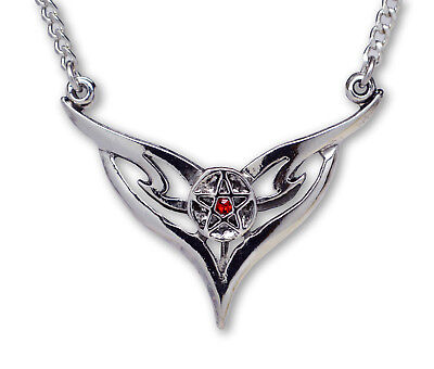 Gothic Pentacle in Chevron Silver Medieval Renaissance Pendant Necklace NK-430