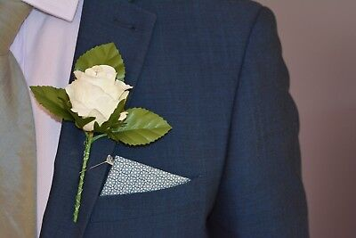 Artificial IVORY White Silk Rose with Diamante, Wedding Groom Buttonhole Flower
