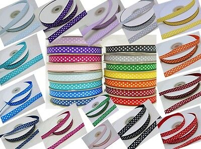 "25m Full Reel x10mm 3/8"" wide Polka Dot Spotty Dotty Grosgrain Ribbon"