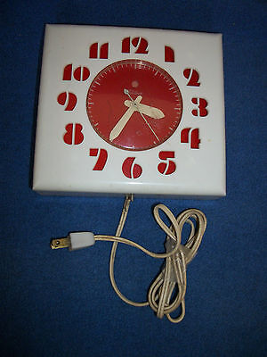 Art Deco White Plastic Clock Case With Red Face And Numbers
