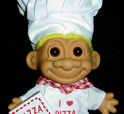 """I LOVE PIZZA - PIZZA CHEF 5"""" Russ Troll Doll NEW IN BAG"""