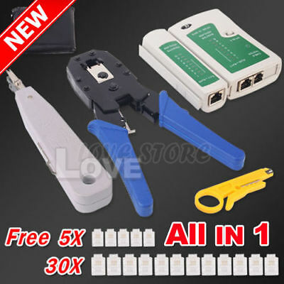 OZ Crimp Punch Tool Data Network LAN RJ45 CAT5e RJ11 RJ12 PC Cable Tester Kit