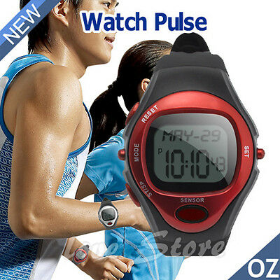 OZ Calorie Counter Pulse Heart Rate Monitor Watch Fitness Sports Exercise Red