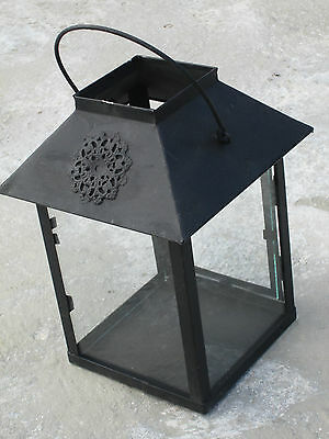 Square candle lantern with 4 sided glass sides