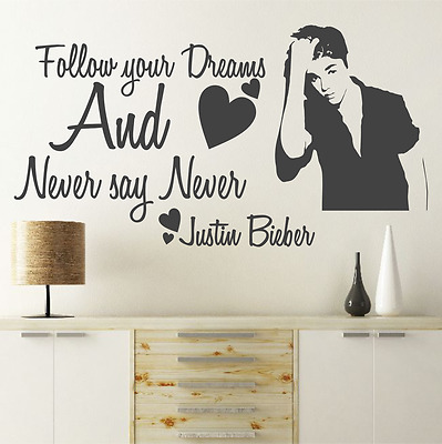 NEVER SAY NEVER Justin Bieber wall STICKER decal quote kids bedroom WQA27