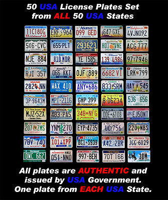 50 United States License Plates Set Number Tag Usa Lot Decoration + Bonus Plate!