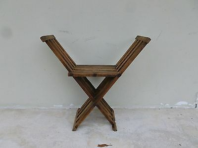 19TH C FOLDING  MILITARY CAMPAIGN STOOL POSSIBLY CIVIL WAR ERA AND QUITE RARE