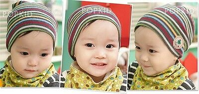 Infant Newborn Baby Boy Girl Striped Hat Cotton Beanie Caps