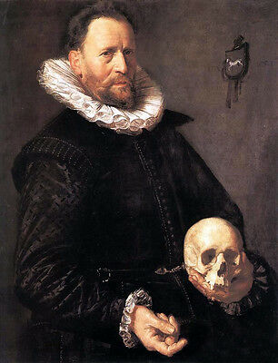 Huge Oil painting Frans Hals - Portrait of a Man Holding a Skull handpainted