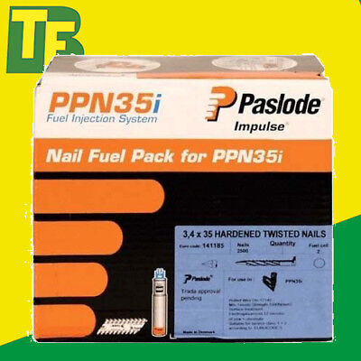 Paslode 141185 PPN35I Positive Placement Nails 35mm (2500 Nails & 2 Gas Cells)