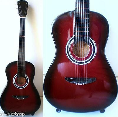 Miniature Acoustic Guitar Solid Wood & Stand 23Cm Collector's Item