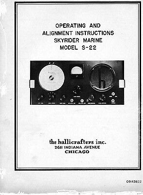 Hallicrafters S-22 Skyrider Marine Operating/Alignment Manual