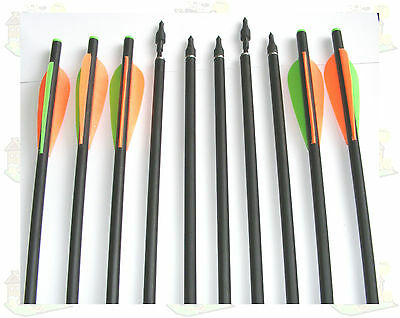 "13.5"" Crossbow Bolts Glass Fiber Standard Recurve Bolts With Screw In Field Tips"