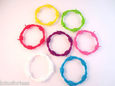 Silicone neon barbed wire gothic style stretchy bracelet bangle
