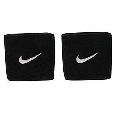 Nike Swoosh Wristbands Sweat Bands - 2 Pack - Black - Tennis Running Sports NEW
