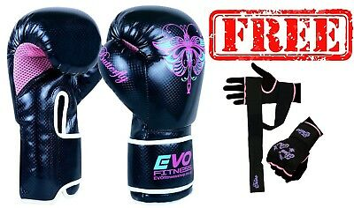 Evo Fitness Ladies Pink GEL Boxing Gloves MMA Punch Bag Leather Sparring 4-14Oz