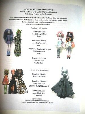 NG Creations Pattern #2 Sew Fabulous Outfits for Monster High Dolls Clothing