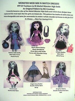 """NG Creations Pattern #1 Sew Mix N Match Dresses fits 11"""" Monster High Doll Girls"""
