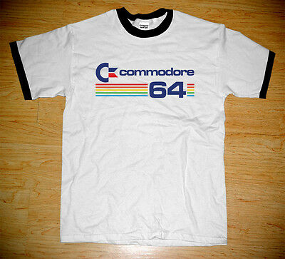 New Commodore 64 Retro Computer Vintage Logo Geek Ringer White T-shirt Tee