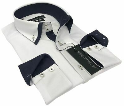 Mens Smart Navy Contrast Double Collar Buttoned Down Shirt
