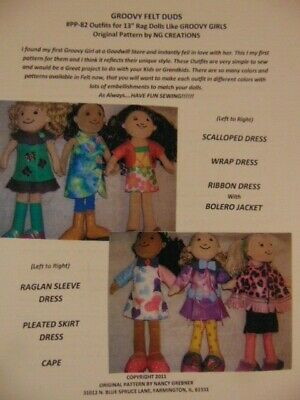 NG Creations Sewing Pattern #PP82 Felt Wardrobe fits Groovy Girls Doll