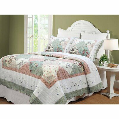 Beautiful  Ivory White Sage Green Pink Blue Yellow Flower Floral Rose Quilt Set