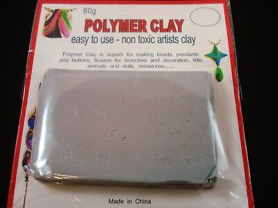 Modelling Polymer Clay Art/Craft Oven Bake 60g Grey Art Design FREE POSTAGE