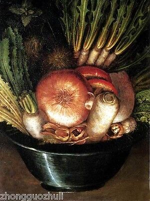 Wonderful art Oil Giuseppe Arcimboldo - Vegetables upsidedown - abstract man 36""