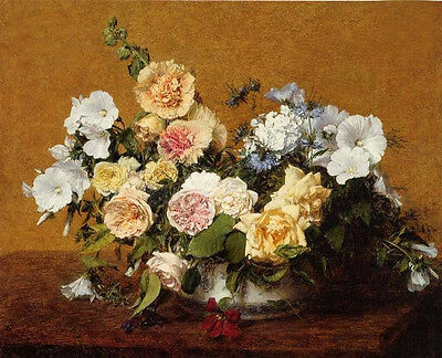 Wonderful art Oil painting Latour - Bouquet of Roses and Other Flowers canvas