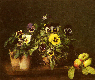 Dream-art Oil painting Henri Fantin Latour Still Life With Pansies hand painted