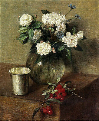 Oil painting Henri Fantin Latour - White Roses flowers and Cherries table
