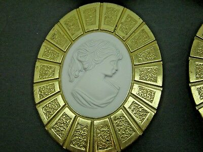 lot  4 Vintage Hyer Antique Oval Drawer Cabinet Pull victorian lady cameo white
