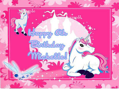 UNICORN Edible ICING Image Birthday CAKE Decoration Topper FREE SHIPPING