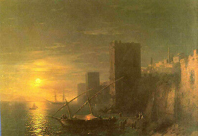 Oil painting Ivan Constantinovich Aivazovsky A Lunar night in the Constantinople