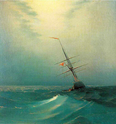Art Oil Ivan Constantinovich Aivazovsky - Seascape Blue wave At night with ship