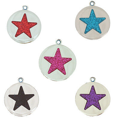 Puppy Dog/Cat I.D Tag - Glitter Star FREE ENGRAVING Pink, Blue Red Black Purple